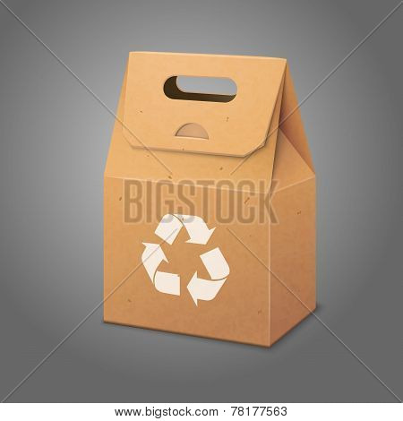 Blank paper craft packaging bag with handle. Vector