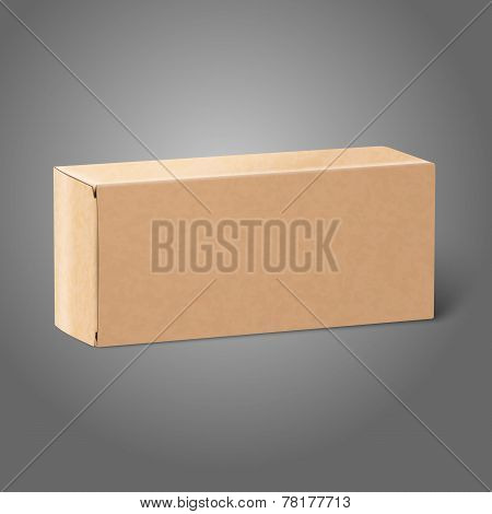 Realistic blank paper craft package box. Isolated on grey background for design and branding. Vector