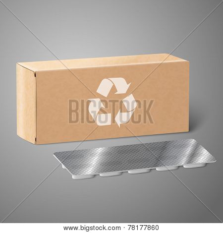 Realistic blank craft paper medicine package box with Pills in a blister pack. Vector