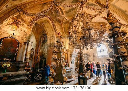 Old Bones And Skulls In Sedlec Ossuary (kostnice), Kutna Hora, Czech Republic