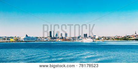 Panoramic Skyline Of Tallinn And Harbour, Coast, Port.