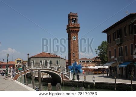 Murano, Italy: San Pietro Martire Bell Tower And The Famous Blue Glass Sculpture