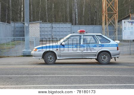 Moscow region, Russia - November,15, 2014: Police car of Russian traffic police near Minsk highway in Moscow region.