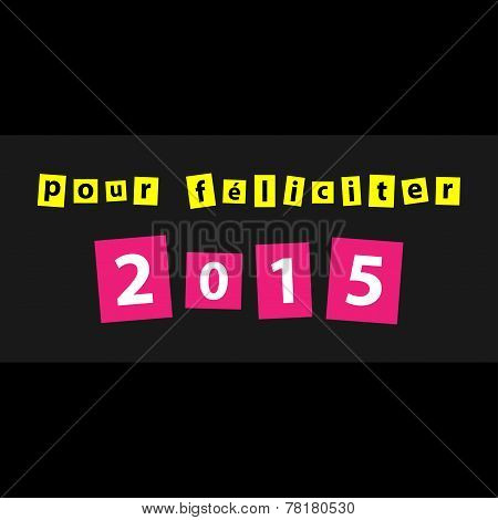 New Year Greeting - Text In Yellow And Pink