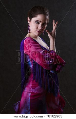 Graceful woman in a magenta e