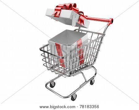 Shopping Cart With Open Gifts Boxes
