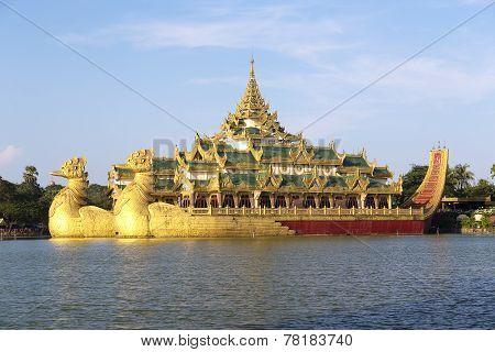 The Royal Floating Barge, Karaweik Lake Yangon, Burma