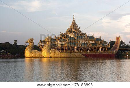 The Royal Floating Barge At Sunset, Karaweik Lake Yangon, Burma