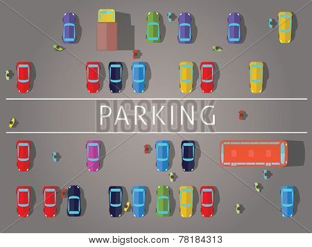 Parking and cars. Top view.Vector illustrations.