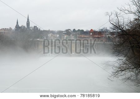 Washington DC - a view from Georgetown and Key bridge in snow blizzard