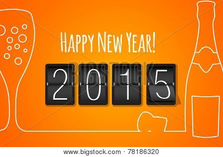 Happy New Year 2015 - Orange Flat Design Background