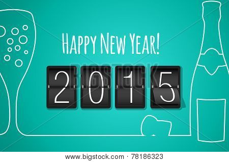Happy New Year 2015 - Turquoise Flat Design Background