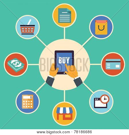Flat Design Vector Concept Of E-commerce Symbols, Online Shopping And Buying