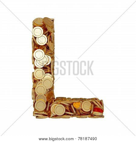 Alphabet Letter L With Golden Coins Isolated On White Background