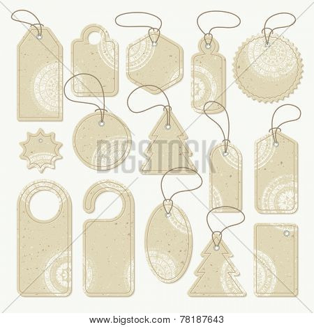 Set of cardboard tags with white stamps, vector. Each object can be used separately