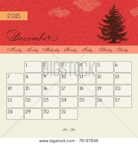Calendar for December 2015 starting Monday, vector calendar set