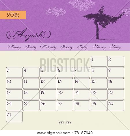 Calendar for August 2015 starting Monday, vector calendar set