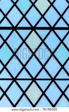Blue Stained Glass Window Diamond Pattern