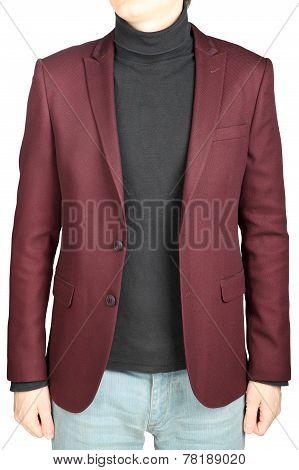 Crimson Mens Blazer In Combination With Denim Pants, On White.