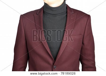 Menswear, Close-up Fragment Of Male Crimson Jacket Suit, On White.