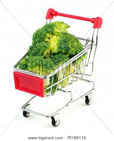 Mini Shopping Trolley Stuffed With Juicy Green Broccoli Isolated On White