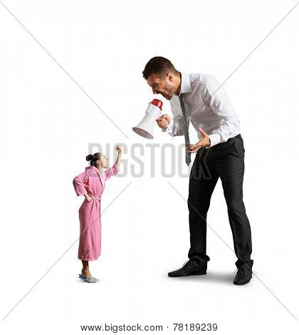 quarrel between big angry man and small screaming woman. isolated on white background