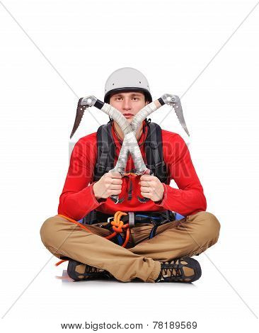 Hiker Sitting With Ice Axe