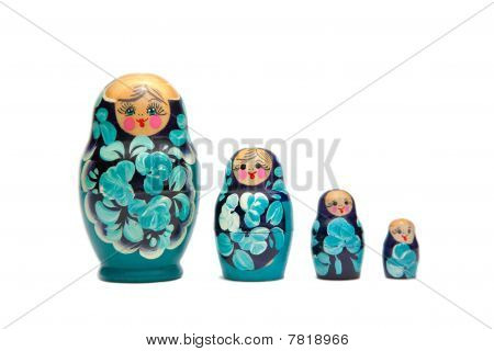 Russian Nesting Dolls (babushka) In A Straight Line