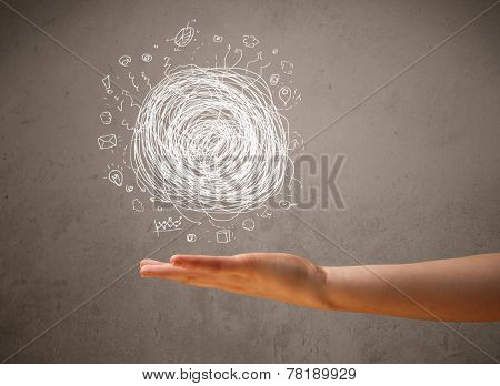 Woman presenting chaos concept in her palm