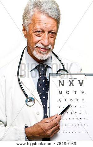 Portrait Of Happy Senior Doctor Isolated On White Background