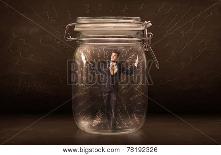 Businessman inside a jar with powerful hand drawn lines concept on bakcground