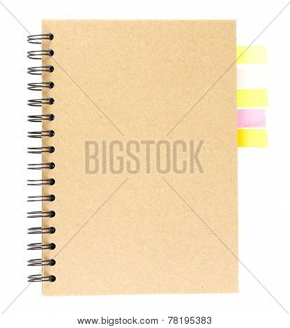 Cover Of Spiral Notebook On White With Colorful Note Paper