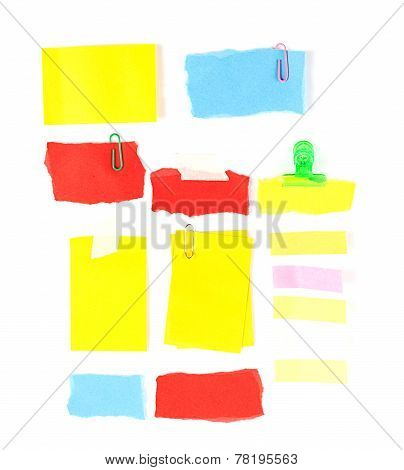 Set Of Colorful Notepaper On White
