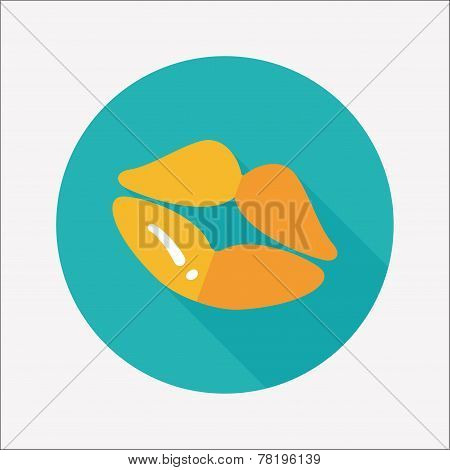 Valentine's Day Lip Flat Icon With Long Shadow,eps10