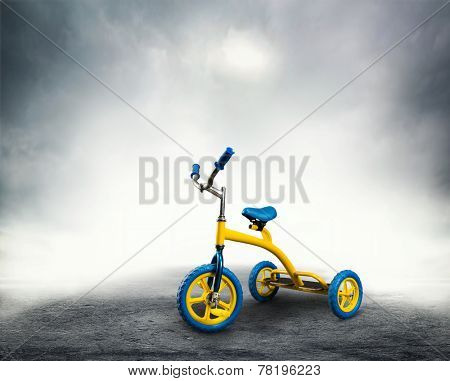 Yellow kid's bicycle