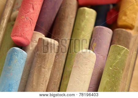 Pastel Chalks In Heap