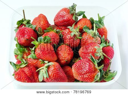 Fresh Red Strawberries In Food Storage Container