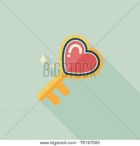 Valentine's Day Lover Key Lock Flat Icon With Long Shadow,eps10