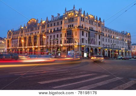 MOSCOW, RUSSIA - FEBRUARY 6, 2014: Building of the hotel Metropol in evening. Built in 1899-1905, it is the remarkable monument of the modern style architecture