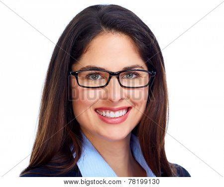 Business Woman face with eyeglasses isolated white background