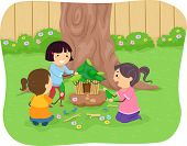 stock photo of playmates  - Illustration of Little Girls Building a Fairy House - JPG