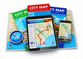 picture of compass  - Set of color city maps - JPG