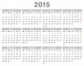 stock photo of monday  - Color vector illustration of 2015 year annual calendar  - JPG