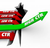 pic of high-rise  - High CTR words on a green arrow rising while bad click through rate campaigns fail to connect with customers via online website banner advertising - JPG