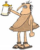 stock photo of stein  - This illustration depicts a caveman raising a stein of beer - JPG