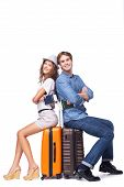 pic of knapsack  - Happy couple is ready to travel - JPG