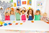 pic of kindergarten  - Kindergarten group of little kids - JPG