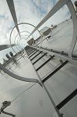 pic of stairway to heaven  - Gray metal stairway to top of battle ship deck - JPG