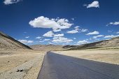 foto of manali-leh road  - Highway Among High Altitude Flat Plateau in Himalayas - JPG