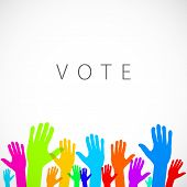 picture of voting  - warm colorful up hands logo - JPG